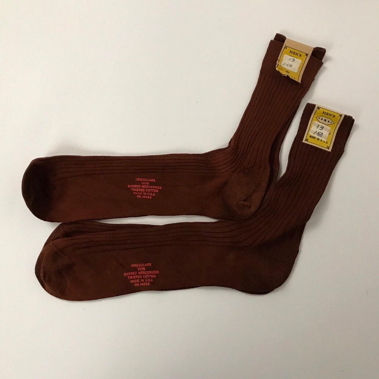 1940s Mens Ties | Wide Ties & Painted Ties 1960S 2 Pairs Of Brown Socks60S Nos Ribbed Cotton Set Unworn Nwt Mens 13 $11.00 AT vintagedancer.com