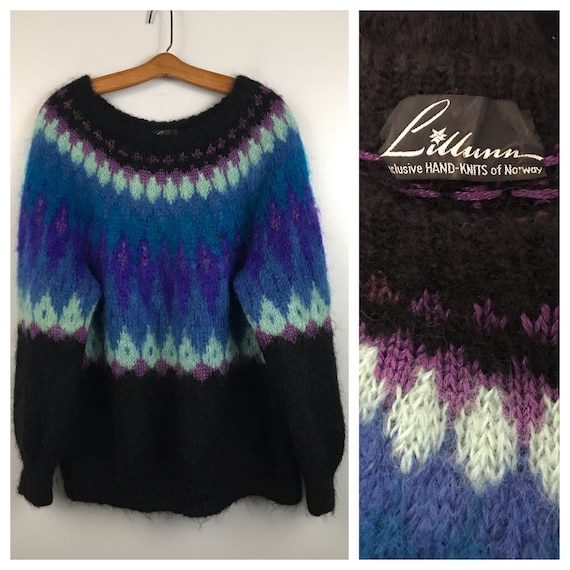 1980s Mohair Sweater / 80s Lillunn Norway Pullover