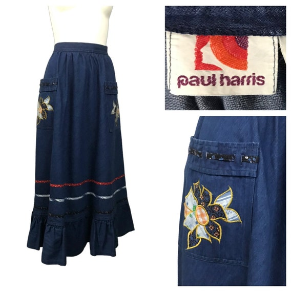 1970s Western Prairie Skirt / 70s Blue Denim Patch