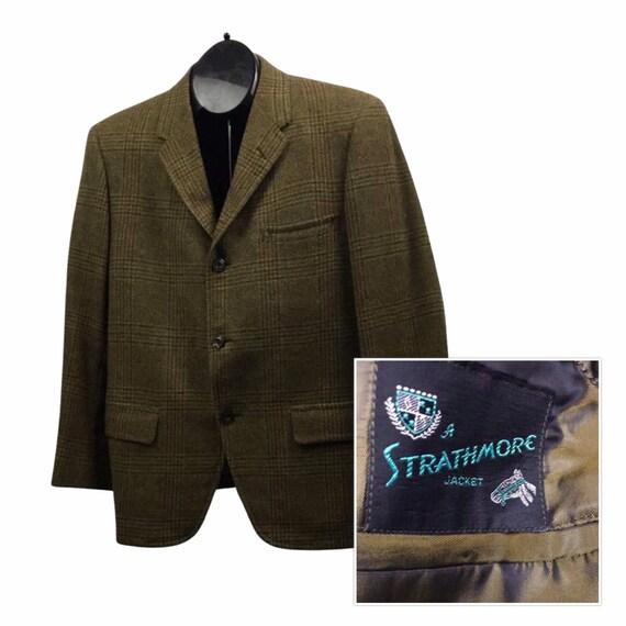 1950s Suit Jacket / Gold Plaid Wool 3 Button Sport