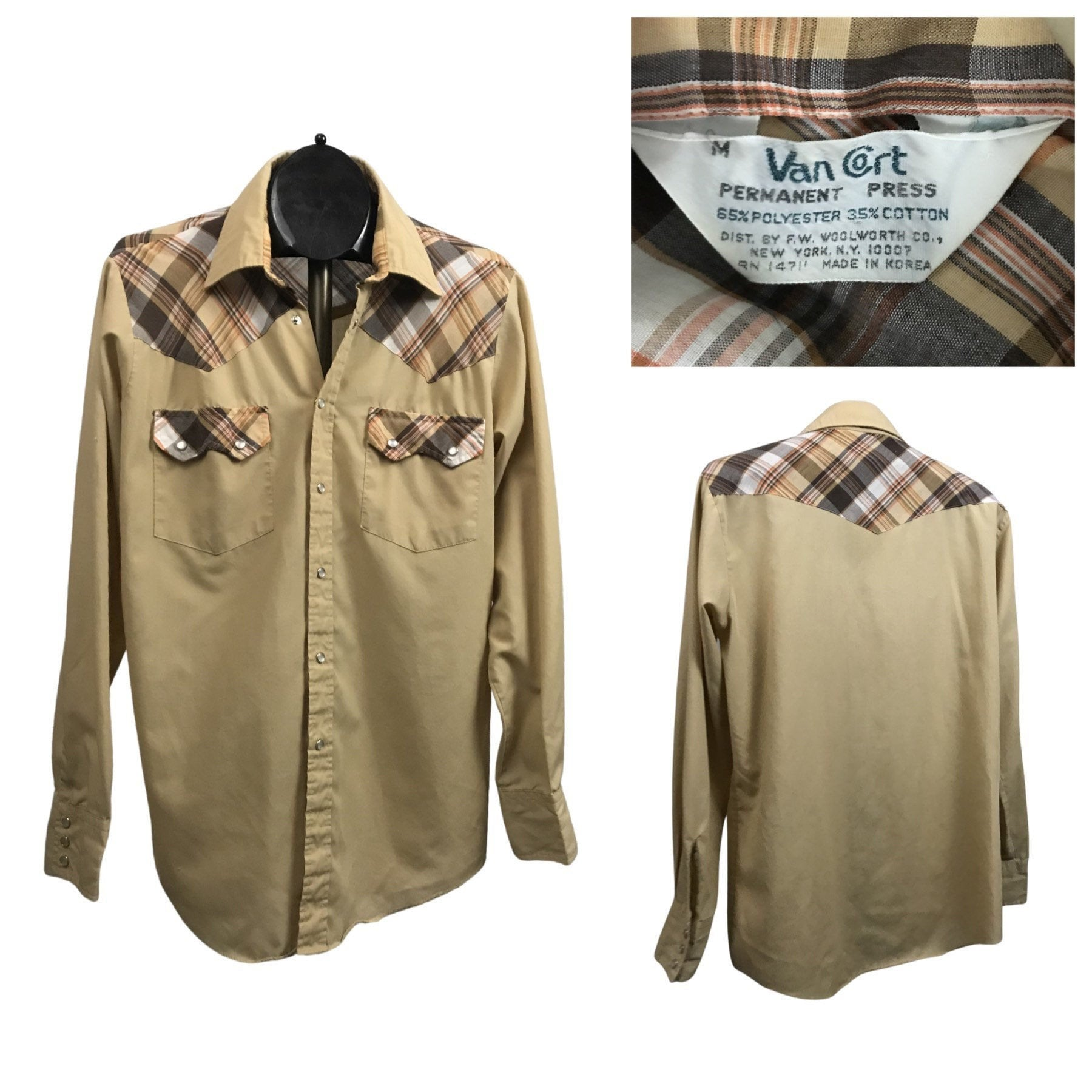 1970s Men's Shirt Styles – Vintage 70s Shirts for Guys 1970S Western Shirt70S Southwestern Checked Snap Button Down Mens ML $41.25 AT vintagedancer.com