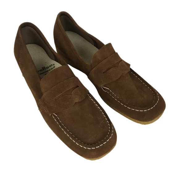 1960s Suede Shoes / 60s NOS Brown Suede Loafers Sh