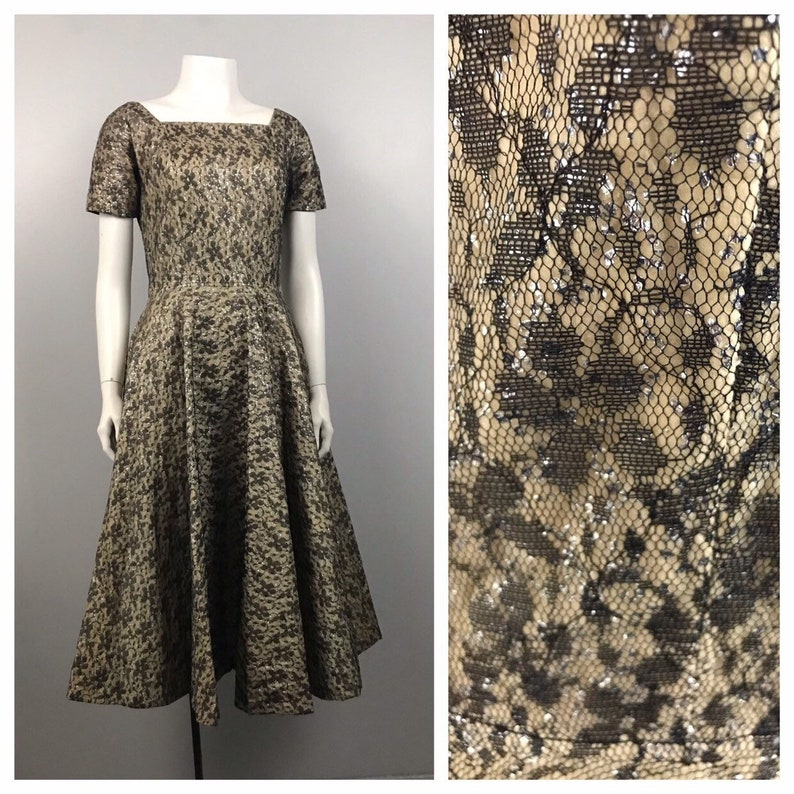 1950s Party Dress  Metallic Floral Fit and Flare Dress Rockabilly  Women\u2019s Small
