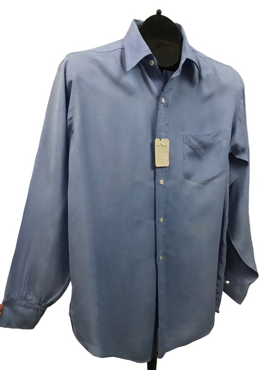 1950s Button Down Shirt / 50s NOS Baby Blue Rayon… - image 2