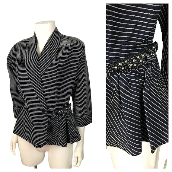 1940s Blazer Suit Jacket / Navy and White Stripe R