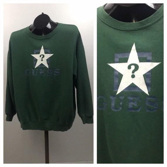 1990s Guess Jeans Sweatshirt / Green Threadbare Sw