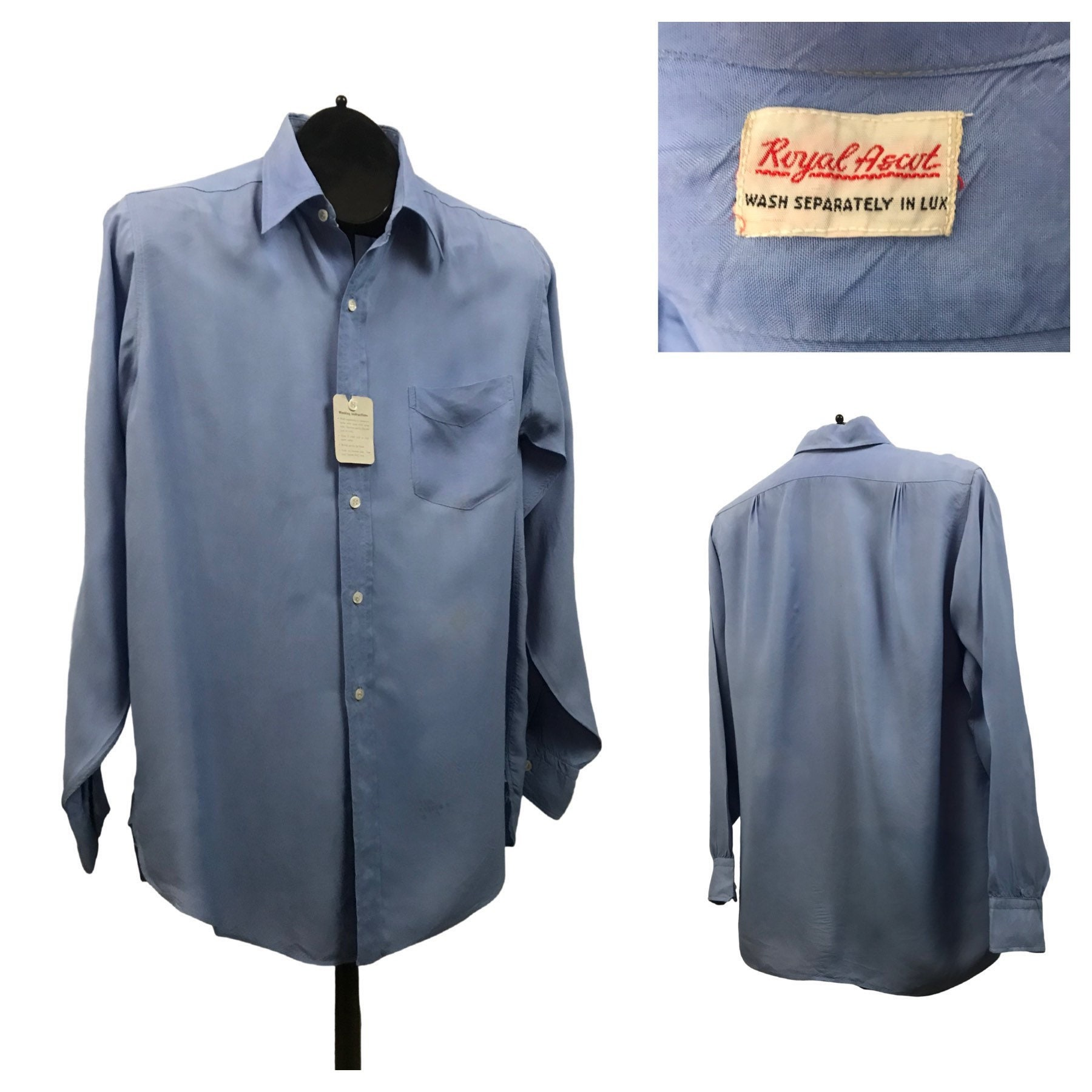1940s Men's Shirts, Sweaters, Vests 1950S Button Down Shirt50S Nos Baby Blue Rayon Unworn Mens Medium $22.50 AT vintagedancer.com