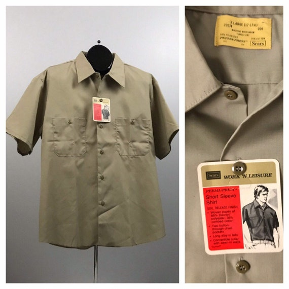 1970s Khaki Work Shirt / NOS Sears Button Down Wor