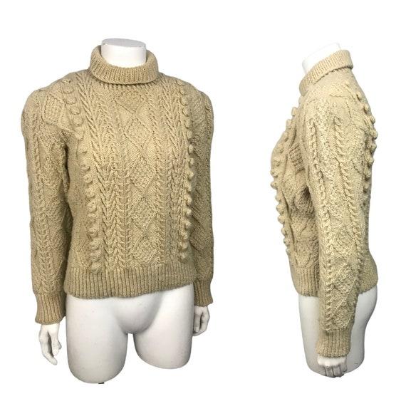 1950s Knit Fisherman Sweater / Beige Hand Knit Tur