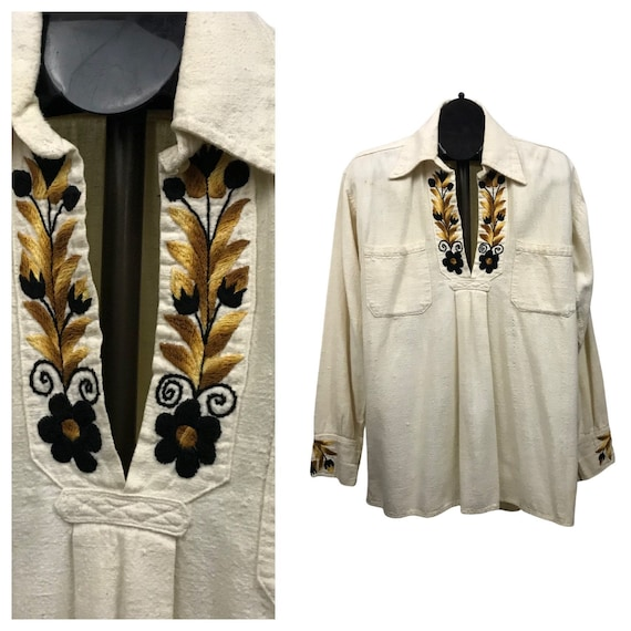 1970s Muslin Hippie Shirt / 70s Floral Embroidered