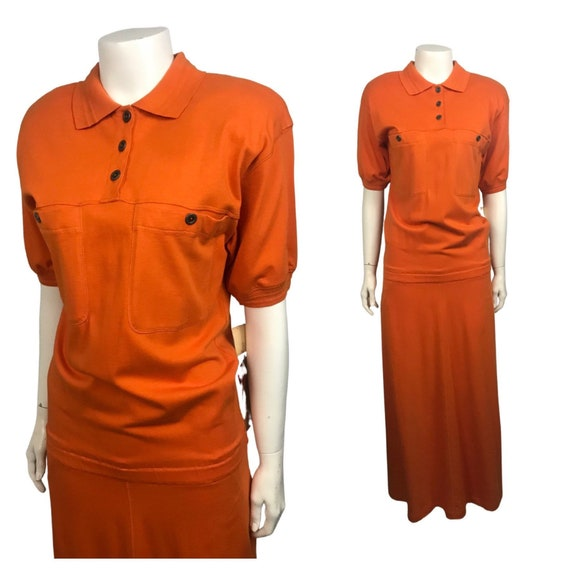 1990s Orange Slouchy Dress / NWT Cotton Bunched Dr