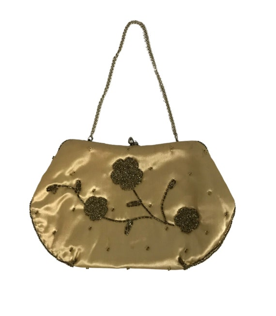 1950s Mini Beaded Handbag / Gold Floral Bead Small