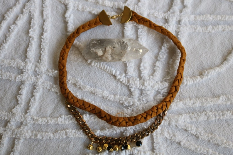 Rhinestone charms. Mustard Plaited Silk Choker Raw brass Chain