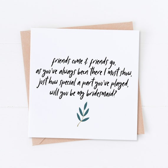 Personalised Bridesmaid Card Bridesmaid Request Will you be my Bridesmaid Poem