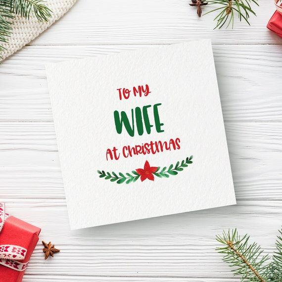 Wife Christmas Card Merry Christmas Wife At Christmas Christmas Card Greeting Card Wedding Card Wife Card Mrs Card