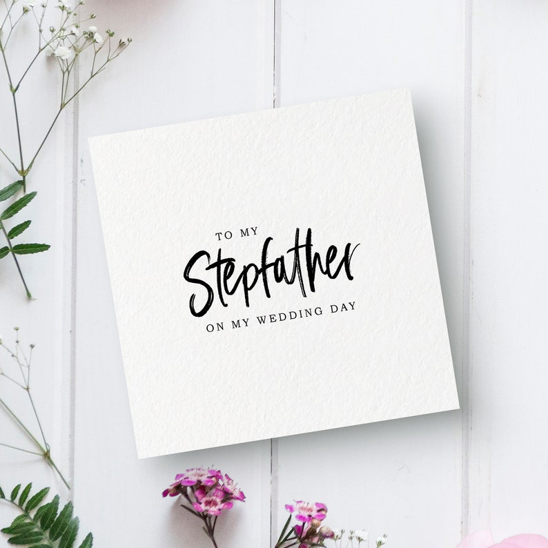 Stepfather On My Wedding Day Bridal Party Card