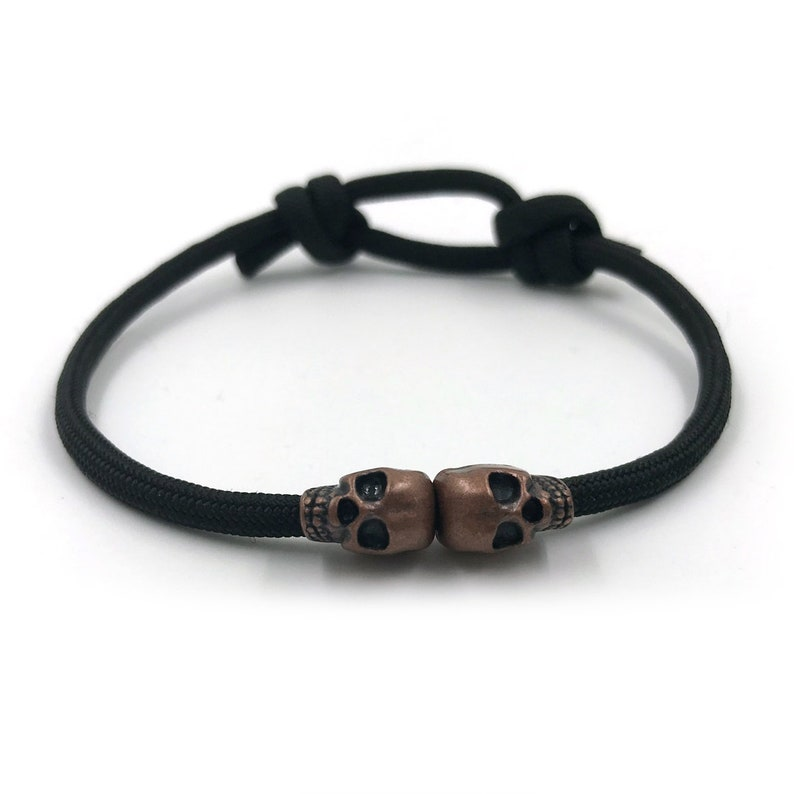 Black Skull Rope Bracelet  Mens Rope Bracelet  Adjustable image 0