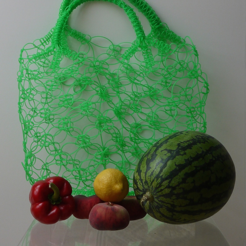 crocheted shopping bags made of plastic cable Mexican market bag in Knallgr\u00fcn Mexican handmade made in Mexico