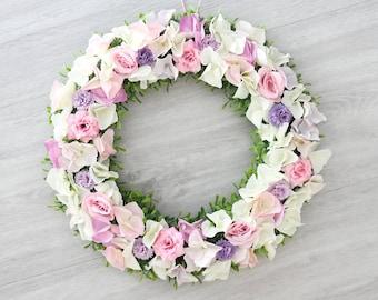 Türkranz Sommer creme lila 35cm Tischkranz Frühling Blüten Wand Kranz Hochzeit