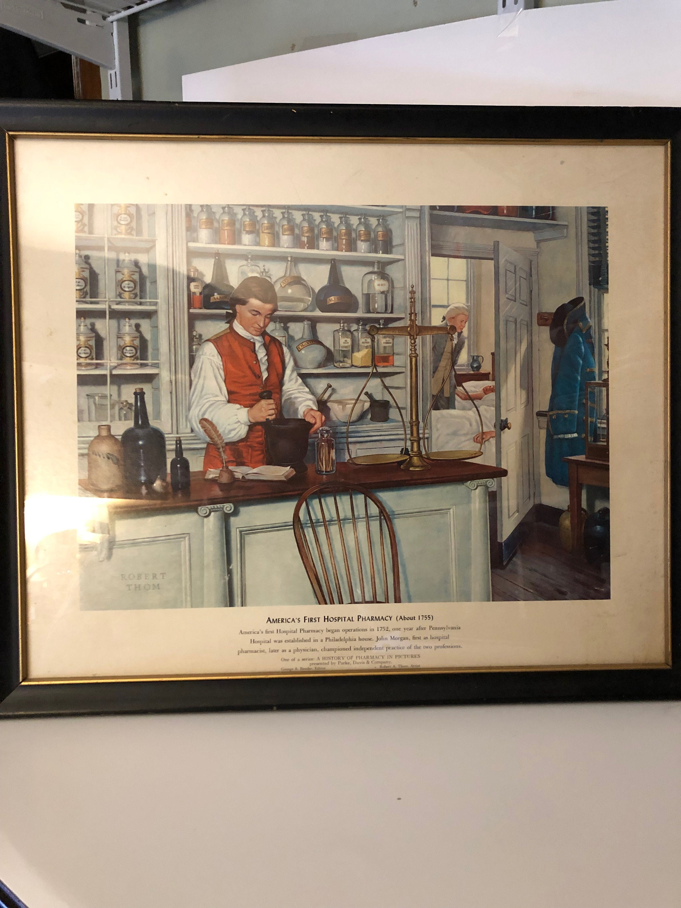 Vintage Robert A Thom First Hospital Pharmacy Print Parke Davis 1954  Lithograph