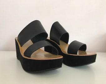 df0304053e9 Black Wedge Velvet Slip On Chinese Laundry Sandals