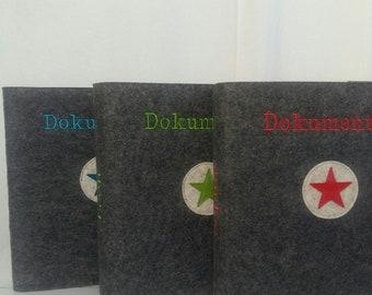 Document folder with wool felt cover