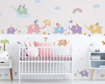 Kinderzimmer Wandtattoo Deko Pastell Set Mond Barchen Wolken Etsy