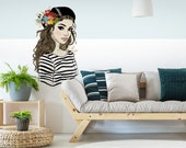 Wall decal Modern design woman in striped sweater with cap French decoration wall sticker Modern Art Sticker Trend Figures