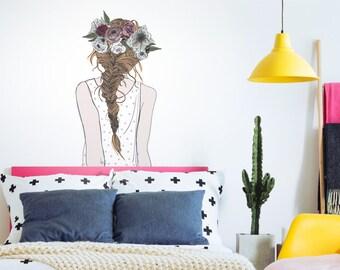 Wandtattoo Modernes Design Frau mit Blumen und Summer Schriftzug