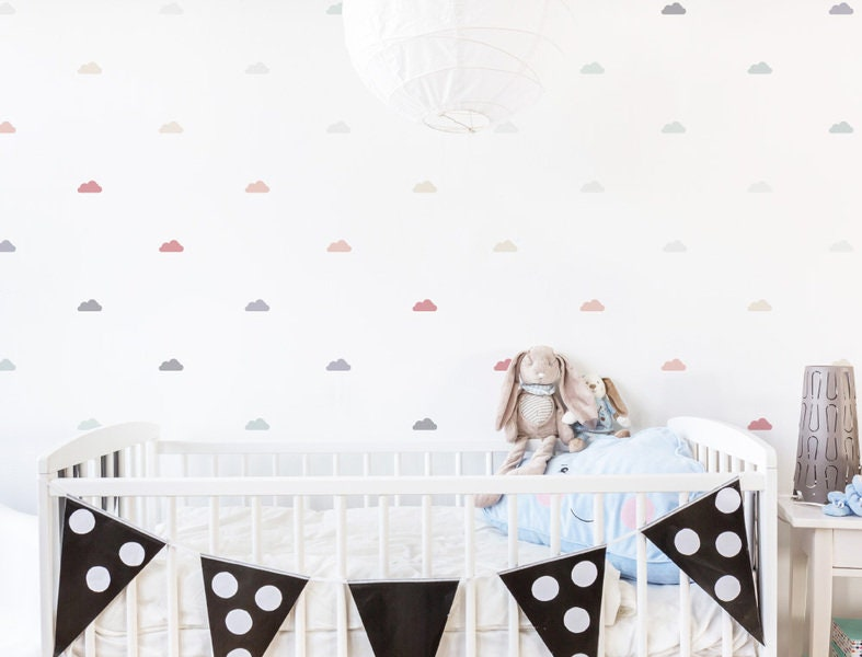 Childrens room wall decal clouds pastel soft etsy