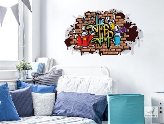 Wandtattoo Jugendzimmer Graffiti Hip Hop Schriftzug Bunt Etsy