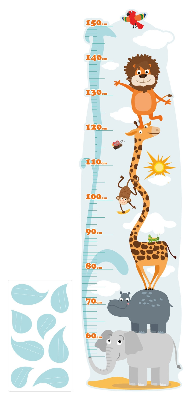 Wandtattoo Kinderzimmer Messlatte Safari Messlatte
