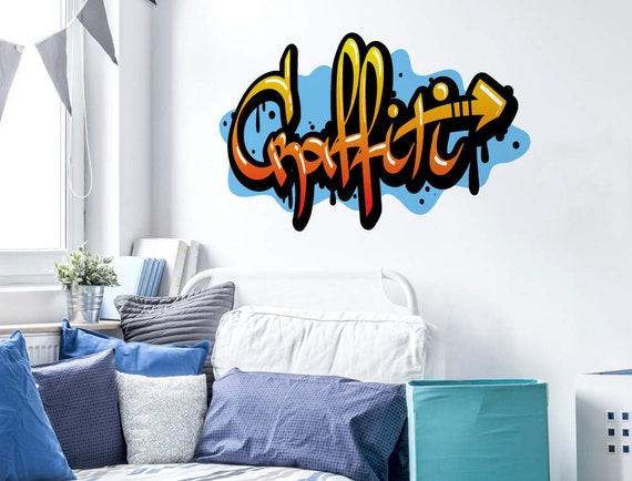 Wandtattoo Jugendzimmer Graffiti Schriftzug Blau Etsy