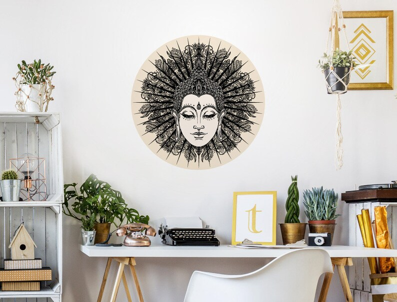 Wandtattoo Indien Buddha Kopf\'\' Wohnraum Deko | Etsy