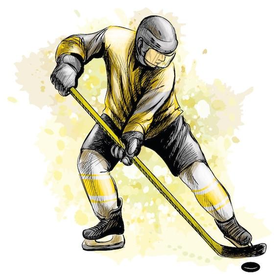 Wandtattoo Kinderzimmer Eishockey Eishockeyspieler Gelb Etsy