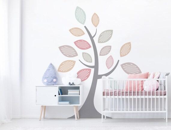 Wandtattoo Pastell Baum Farbig Kinderzimmer Etsy