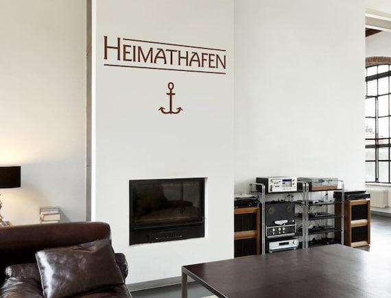 Wandtattoo Sprüche Wohnzimmer \'\'Heimathafen\'\' Text Wandsticker Esszimmer  Esstisch Wandsticker