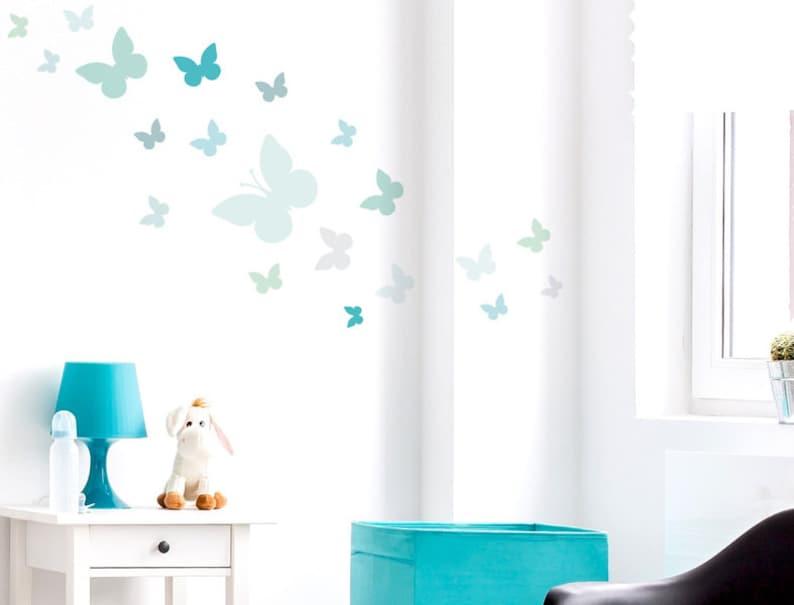 Wandtattoo Kinderzimmer \'\'Schmetterlinge Pastell Grün | Etsy