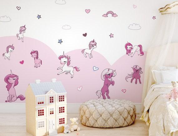 Kinderzimmer Deko Wandtattoo Einhorn Set Madchendeko Bunt Pink Weiss