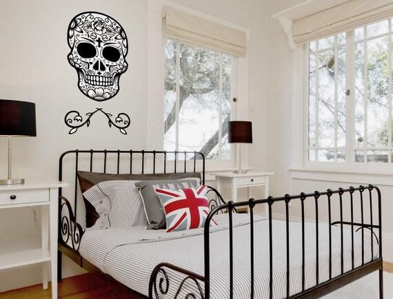 Mur de décoration de chambre à coucher crâne noir blanc   Etsy