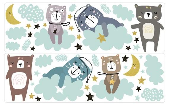 Wandtattoo Kinderzimmer Tiere Pastell Sticker Bar Sterne Mond Etsy