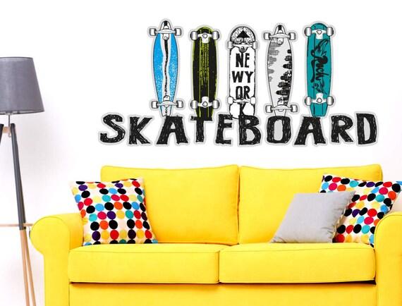 Wandtattoo Skateboard Decks In Farbe Skateboard Wanddeko Etsy