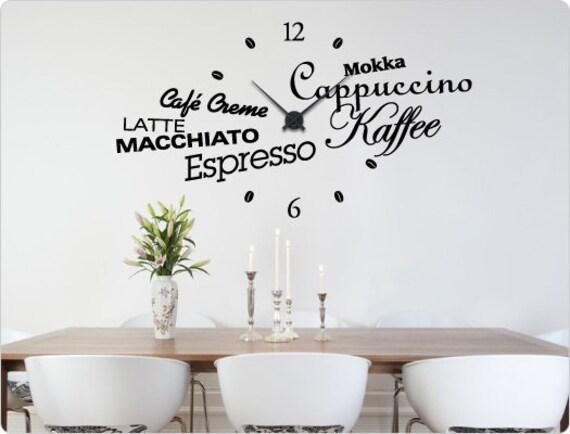 """Wandtattoo-Uhr Küche 11528 """"Kaffee"""" Wanddekoration"""