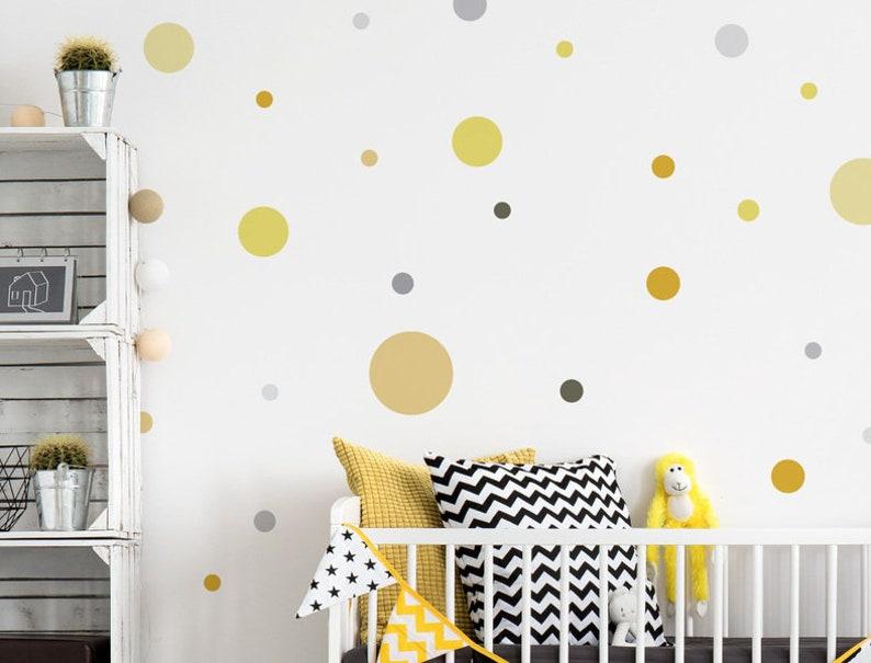 Kinderzimmer Wandtattoo Kreise Pastell Gelb Grau | Etsy