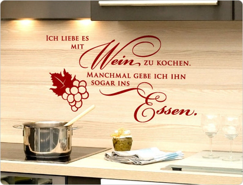 Wandtattoo Küche Sprüche Ich liebe es mit Wein | Etsy