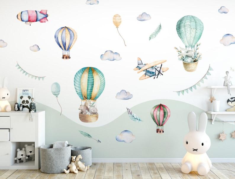 Kinderzimmer Deko Aquarell Wandtattoo Heissluftballon Tiere Wolken Wandsticker Flugzeuge Set Tierwelt Kinderbett