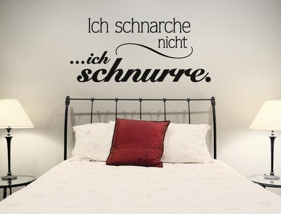 Wandtattoo Schlafzimmer Sprüche \'\'Schnarchen und schnurren\'\' Wohnraum Deko  Liebe Romantik Beziehung Wandsticker
