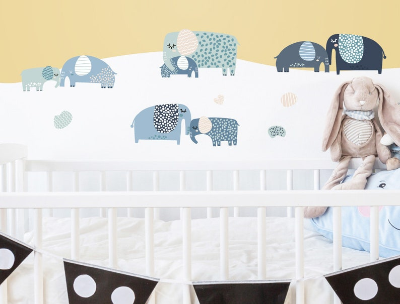 368c5c68d0b68 Wall tattoo set elephants in pastel shades children's room baby room