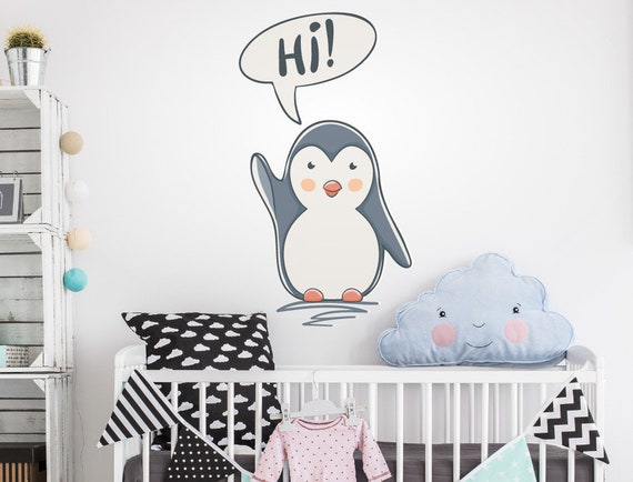 Children Wall Art Cute Penguin Waving Vinyl Sticker Decal Kids Bedroom 20