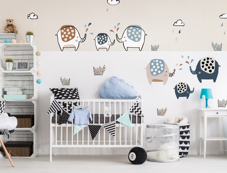 de83821b23fa5 Wall tattoo baby room elephant set with clouds and raindrops wall sticker  nursery decoration boy girl baby